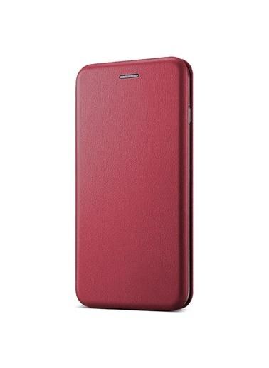 Microsonic iPhone 8 Plus Kılıf Ultra Slim Leather Design Flip Cover  Bordo